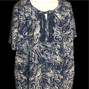Catherine's plus cotton s/s paisley top